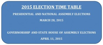 INEC Time Table and Schedule of Activities for General Elections, 2015